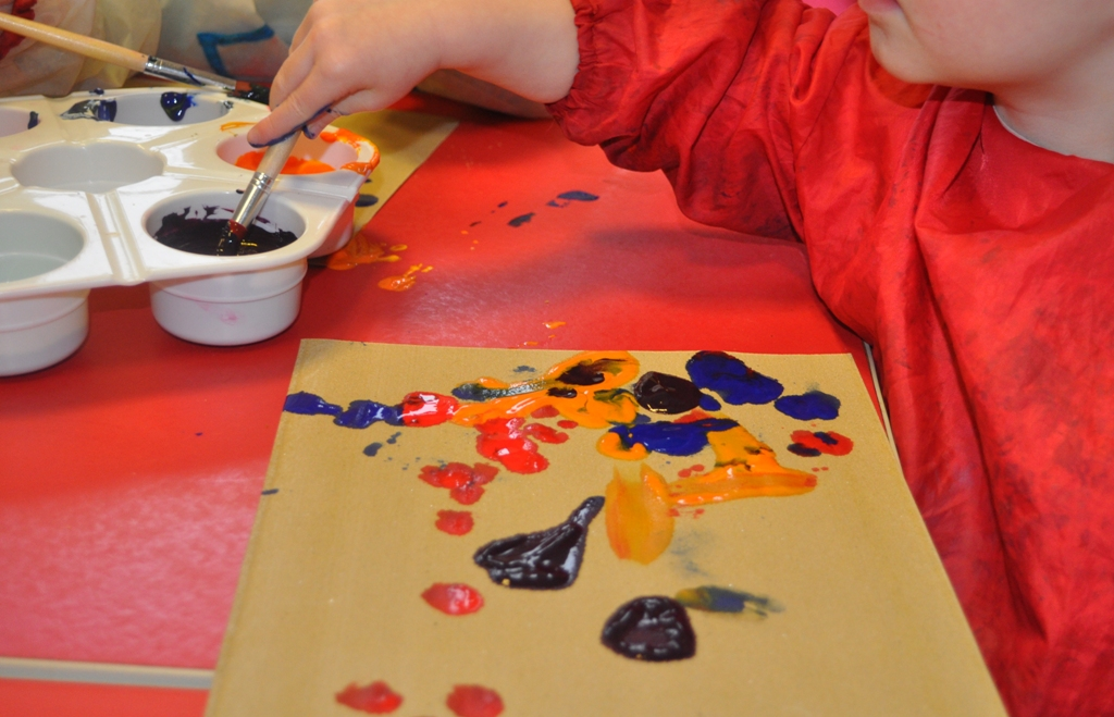 mark making activity painting on sandpaper