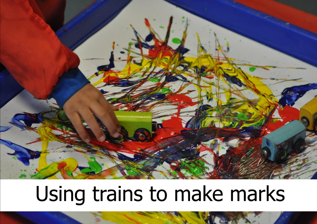Using trains for mark making