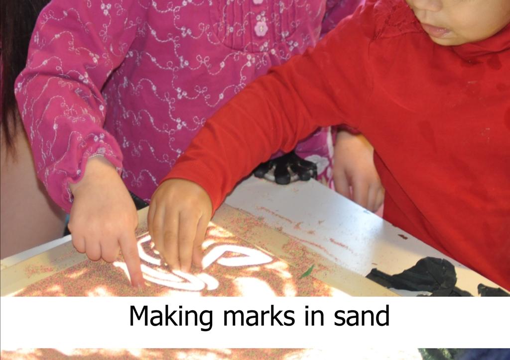 mark making in sand