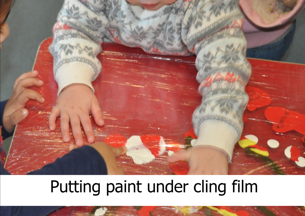 putting paint under cling film