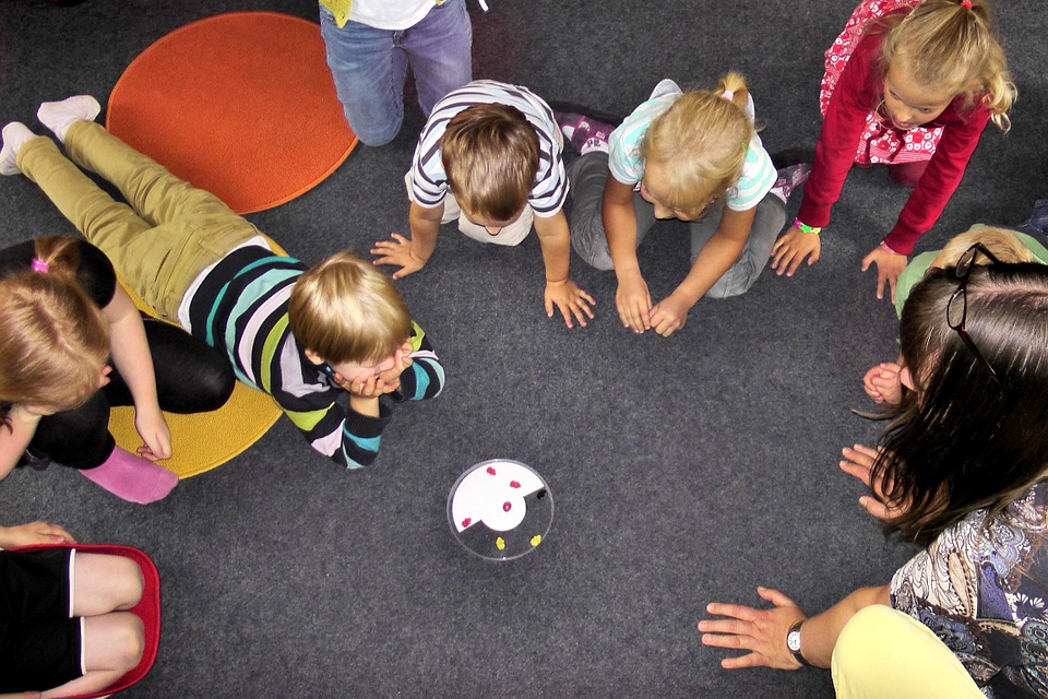 large group of children playing together