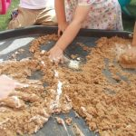 Shaving foam and sand messy play