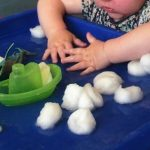 Cotton wool in water play
