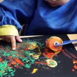 Using different sponge tools for mark making